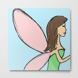 My Messy Fairy Sketch- brunette Metal Print