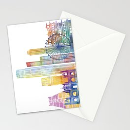 Singapore landmarks watercolor poster Stationery Cards