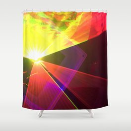 Red and Yellow laser Shower Curtain