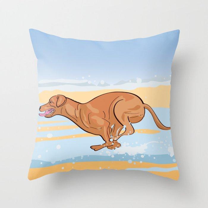 Beach Vizsla Throw Pillow