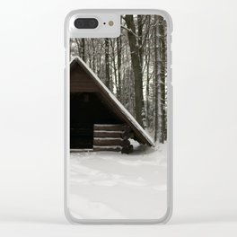 Log Hut In The Snow Clear iPhone Case