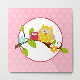 Happy Owls on a Branch, Yellow and Pink Metal Print