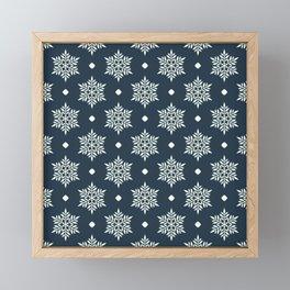 Christmas Snowflake Wallpaper Pattern On Blue Framed Mini Art Print