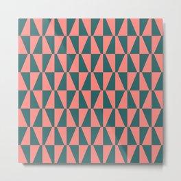 Mid Century Modern Geometric 312 Coral and Green Metal Print