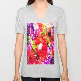 Expression Of Colour - Abstract Painting In Rainbow Colours Unisex V-Neck