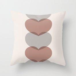 Hearts - Cocoa & Gray Throw Pillow