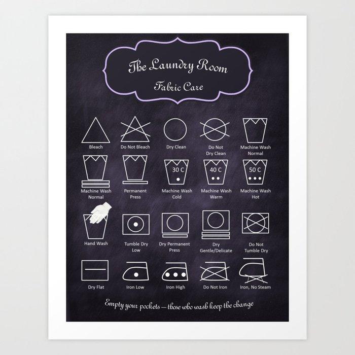 The Laundry Room Fabric Care Guide Purple Art Print By Oldurbanfarmhouse Society6