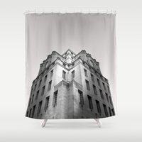 manchester Shower Curtains featuring 100 King Street, Manchester. by The Edge Collection