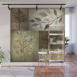 Earth Tone Botanical Color Blocks Wall Mural