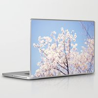 cherry blossoms Laptop & iPad Skins featuring Cherry Blossoms by myhideaway