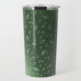 silver music notes metall green Travel Mug