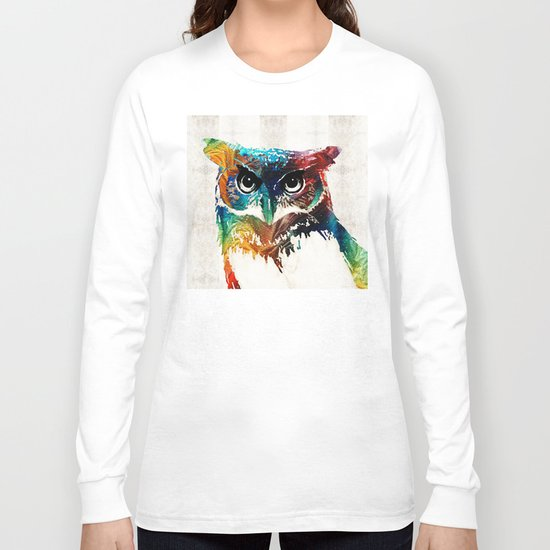 Colorful Owl Art - Wise Guy - By Sharon Cummings Long Sleeve T-shirt