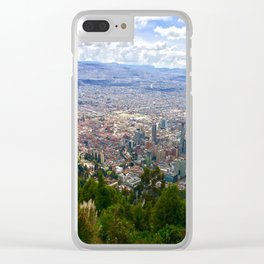Mount Monserrate, with a 10,000 ft view of Bogota Colombia Clear iPhone Case