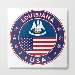 Louisiana, Louisiana t-shirt, Louisiana sticker, circle, Louisiana flag, white bg Metal Print