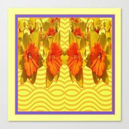 Golden Daffodils Pattern Canvas Print
