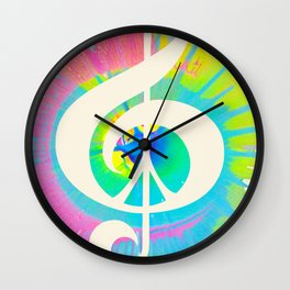 Tie Dye Music & Peace Wall Clock