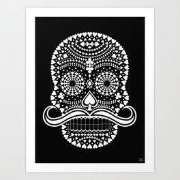 Black Skull  White Suits Art Print