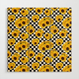 Yellow Sunflower Floral with Black and White Checkered Summer Print Wood Wall Art