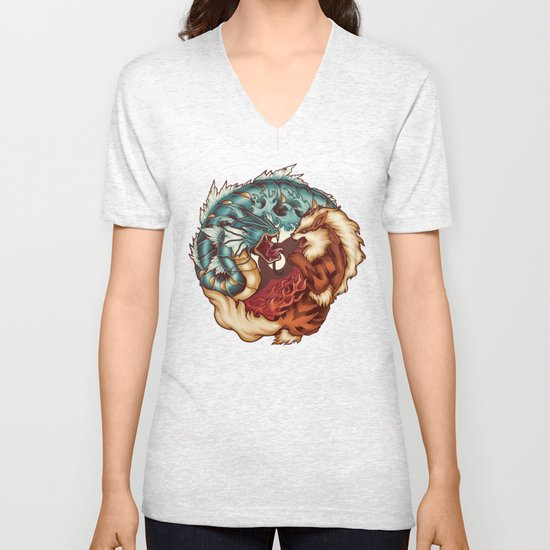 The Tiger and the Dragon Unisex V-Neck