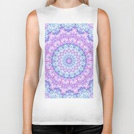 Beautiful Rose Blue Pastel Flower Mandala Biker Tank