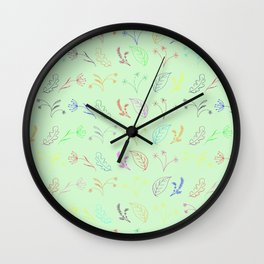 Crayon Flowers Drawing on Pastel Green Wall Clock