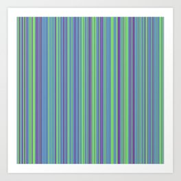 Lime Violet Candy Lines Art Print