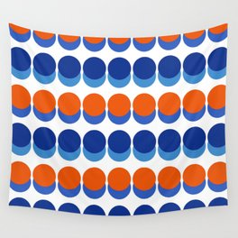 Vibrant Blue and Orange Dots Wall Tapestry