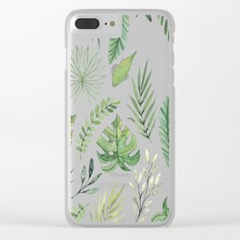 Green Summer Leaf Pattern Clear iPhone Case