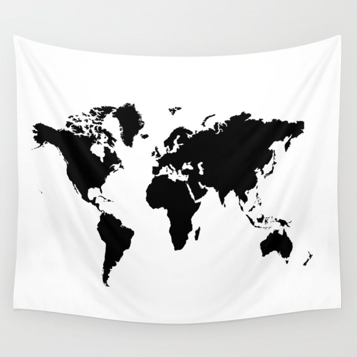 Black and white world map wall tapestry by haroulita society6 black and white world map wall tapestry gumiabroncs Choice Image
