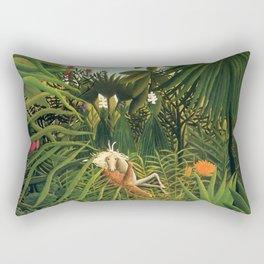 "Henri Rousseau ""Jaguar Attacking a Horse"", 1910 Rectangular Pillow"