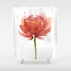 Red Flower Watercolor Floral Painting Shower Curtain