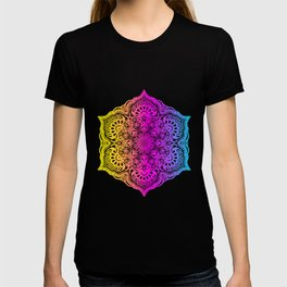 Colorful abstract ethnic floral mandala pattern design T-shirt