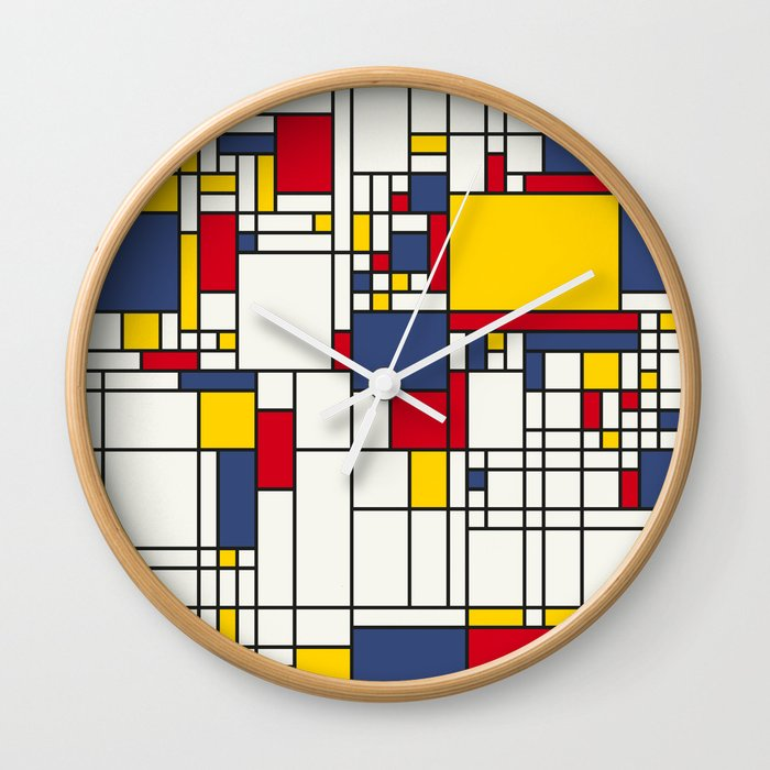 World map abstract mondrian style wall clock by artpause society6 world map abstract mondrian style wall clock gumiabroncs Choice Image