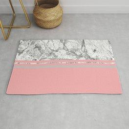Marble & Solid: Grey + Pink Rug