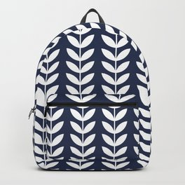 Navy Blue and White Scandinavian leaves pattern Backpack