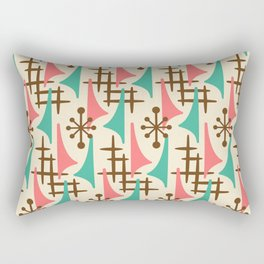 Retro Mid Century Modern Atomic Wing Pattern 425 Brown Pink and Green Rectangular Pillow