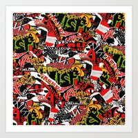bands Art Prints featuring BANDS by DIVIDUS