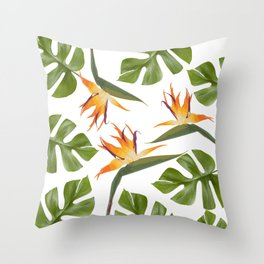 Strelitzia and Monstera white Throw Pillow
