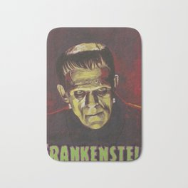 Frankenstein 1931 Boris Karloff In Color With Text Logo Bath Mat