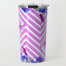 Geometric coffee brown & pink  Morning Glories Travel Mug