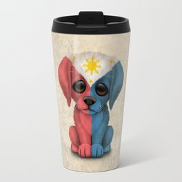Cute Puppy Dog with flag of The Philippines Travel Mug