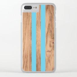 Wood Grain Stripes - Light Blue #807 Clear iPhone Case