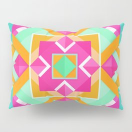 Geometric Tribal Mandala Inspired Modern Trendy Vibrant (Mint Green, Maroon, Wine, Hot Pink, Orange) Pillow Sham