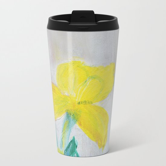 yellow summer iris Metal Travel Mug