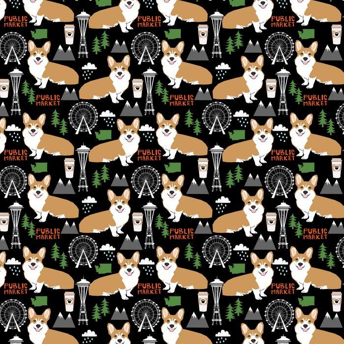 Corgi in Seattle - cute corgi dogs coffee, space needle, ferris wheel print Leggings