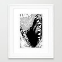 jaws Framed Art Prints featuring Jaws by Sinpiggyhead
