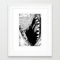 jaws Framed Art Prints featuring Jaws by Sinpiggyhead