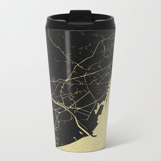 Barcelona Black and Gold Map Metal Travel Mug