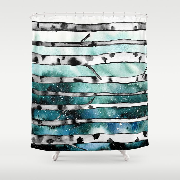 Abstract Birch Shower Curtain By Amayab