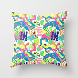 Surf Shapes in White Throw Pillow